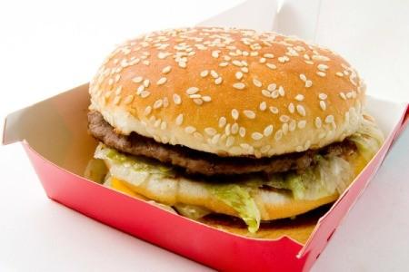 Big Mac type burger in red burger carton