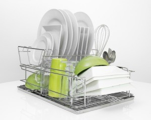 Dish rack filled with clean dishes