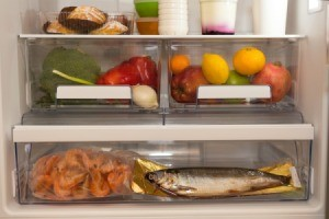 Interior of a refrigerator with a fish inside