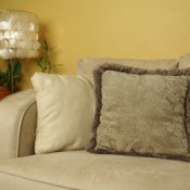 Microfiber couch with pillows