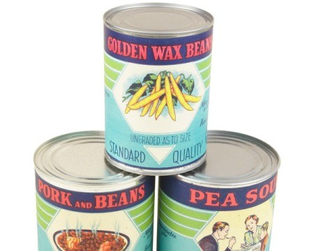 Stacks of canned food with antique labels