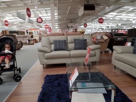 living room furniture in store