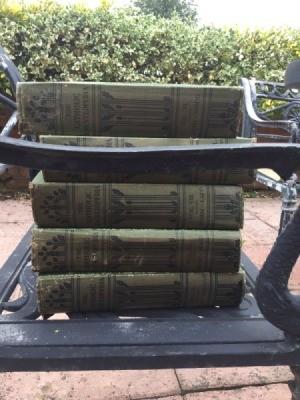 books on garden bench