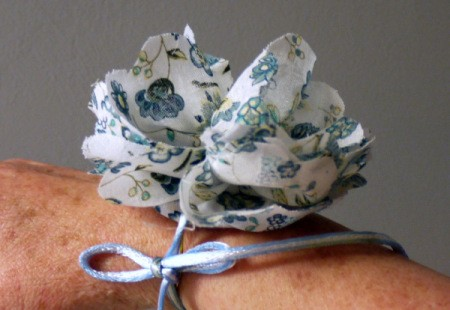 blue and white floral fabric wrist corsage