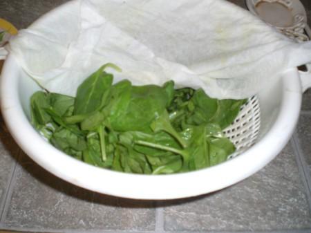 greens in a colander