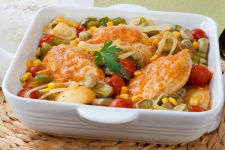 Casserole dish containing Chicken Brunswick Stew