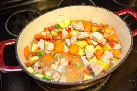 Cooking Pork and Vegetable Harvest Stew