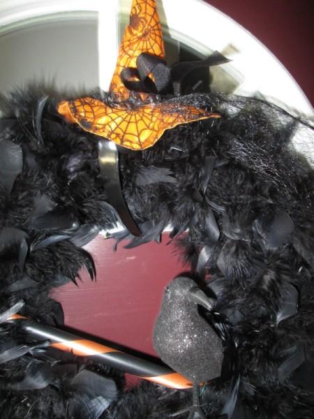 Feathered Halloween Wreath