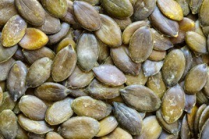 Close up of roasted squash seeds