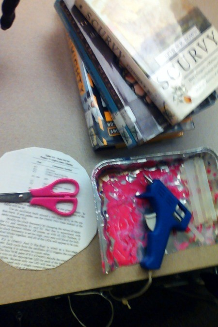Supplies for making book wreath.