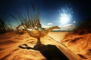 Genie's lamp in a beautiful desert oasis