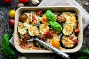 Casserole containing slices of eggplant