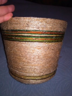 finished wrapped flower pot