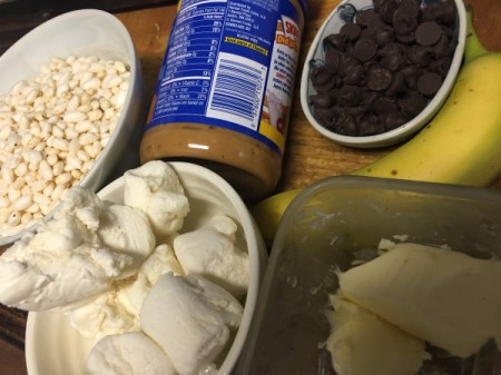 Peanut Butter Banana Puffed Rice Squares