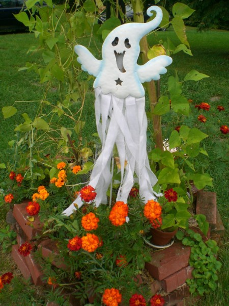 flower garden with ghost decoration