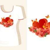 T-shirt with a bright orange and red floral design.  Design isolated next to shirt