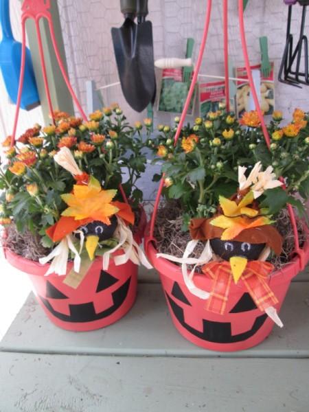 two pumpkin pots