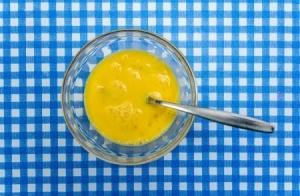 Liquid eggs in a bowl