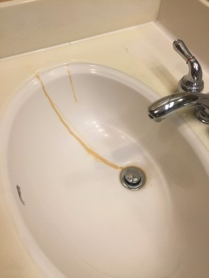 air freshener stain in sink