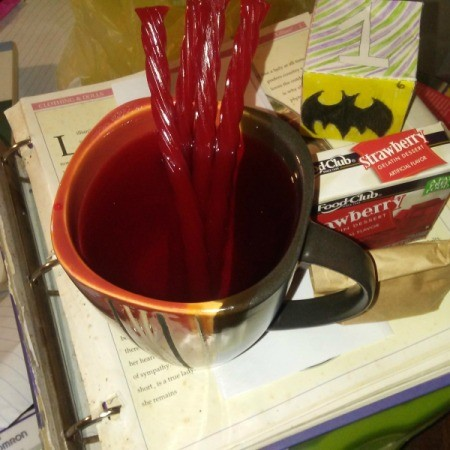 Jello Drink with Twizzler