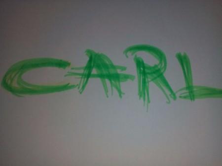 Carl written out in marker