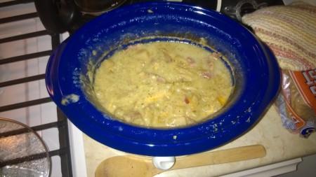 A bowl of potato broccoli bacon cheese stewp