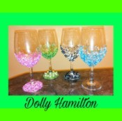 wine glasses with colored beads glued on