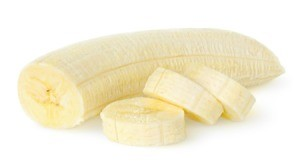 Peeled banana partially cut into slices