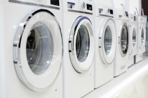 Row of washing machines in a store