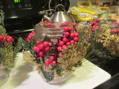 Decorated Christmas Tea Light Jars