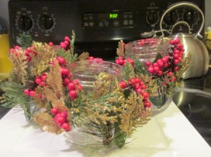Decorated Christmas Tea Light Jars