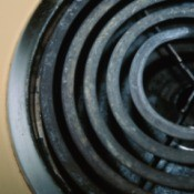 Close up of the metal surface and burner of an electric stove top