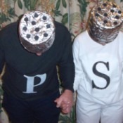 A couple dressed up as salt and pepper.