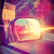 sunset in rearview mirror