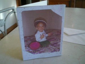 Sharing Precious Photos - baby photo on adult child's birthday card
