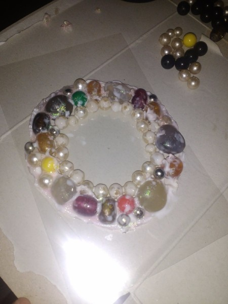 Wall Frame From Old Chokers and Bracelets