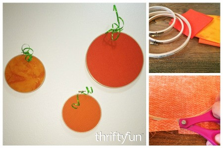 Making Embroidery Hoop Pumpkins