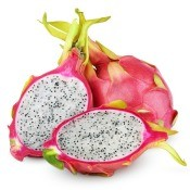 Dragon fruit against white background.  One whole, one is cut in half