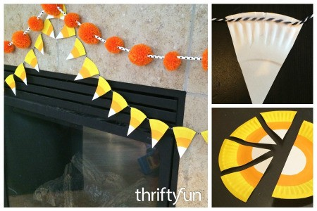 Making a Paper Plate Candy Corn Garland