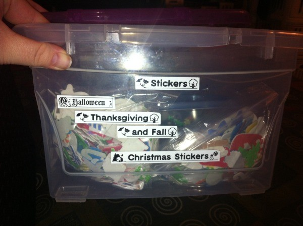 Organized stickers in a container.