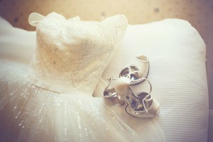 A wedding dress and shoes.
