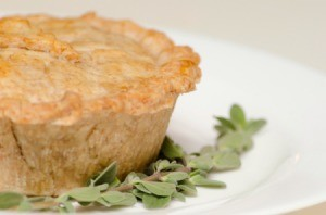 Whole Wheat Vegetarian Pot Pie with a sprig of thyme.