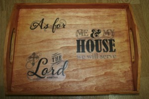wooden tray with religious saying