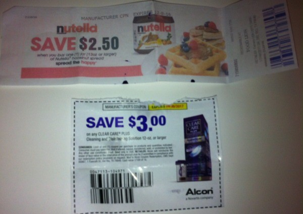 Some coupons cut out of the paper.