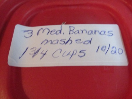 A marked container of mashed bananas.