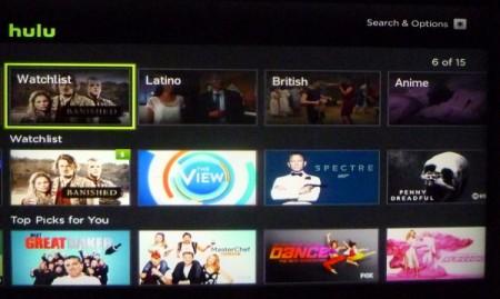 A screenshot of Hulu Plus