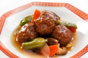 Meatballs with bell peppers and mushrooms.