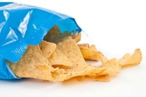 An open bag of tortilla chips.