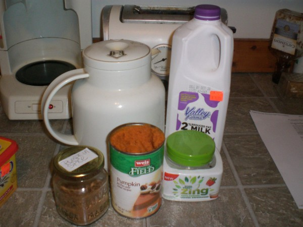 All the ingredients for pumpkin spice lattes.