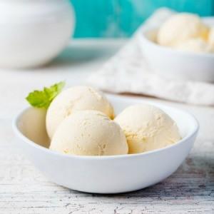 A bowl of homemade vanilla ice cream.
